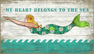 My Heart Belongs to the Sea Mermaid Wood Print - By the Sea Beach Decor