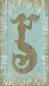 Mermaid Wooden Artwork Print - By the Sea Beach Decor