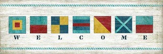 Nautical Welcome Wood Print - By the Sea Beach Decor