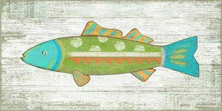 Funky Green Fish Wood Print - By the Sea Beach Decor