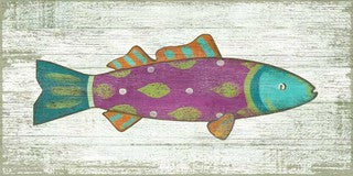 Funky Pink Fish Wood Print - By the Sea Beach Decor