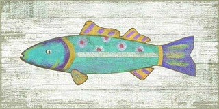 Funky Blue Fish Wood Print - By the Sea Beach Decor