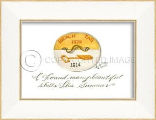 Beach Tag 1979 Framed Art - By the Sea Beach Decor