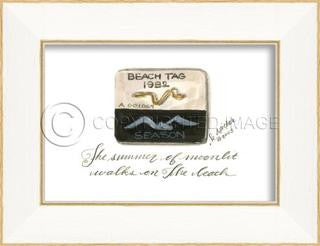 Beach Tag 1982 Framed Art - By the Sea Beach Decor