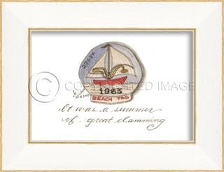 Beach Tag 1983 Framed Art - By the Sea Beach Decor
