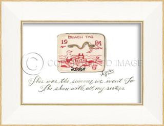 Beach Tag 1984 Framed Art - By the Sea Beach Decor