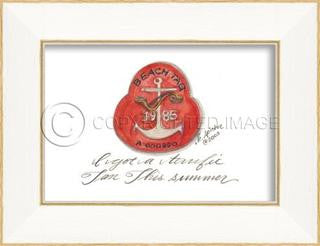 Beach Tag 1985 Framed Art - By the Sea Beach Decor