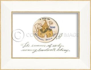 Beach Tag 1990 Framed Art - By the Sea Beach Decor