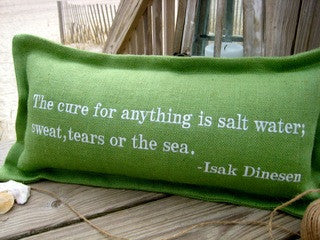 The Cure for Anything Embroidered Pillow - By the Sea Beach Decor