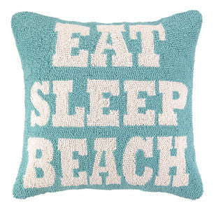 Eat Sleep Beach Hook Pillow - By the Sea Beach Decor