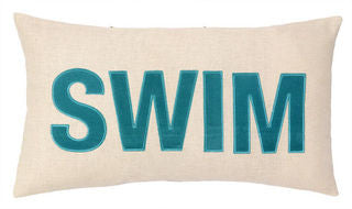 Embroidered SWIM Pillow - By the Sea Beach Decor