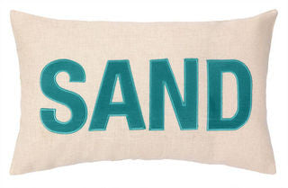 Coastal Decor Pillow SAND Embroidered