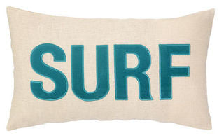 Embroidered SURF Pillow - By the Sea Beach Decor