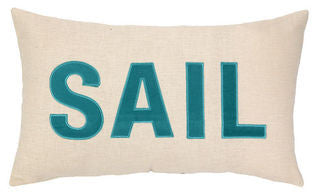 Embroidered SAIL Pillow - By the Sea Beach Decor