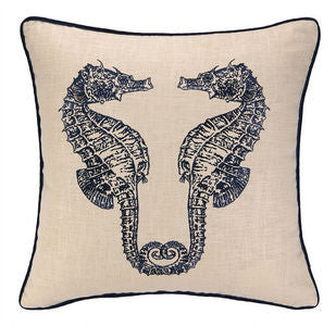 Double Seahorse Embroidered Pillow - By the Sea Beach Decor