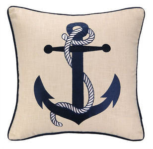 Anchor Embroidered Pillow - By the Sea Beach Decor