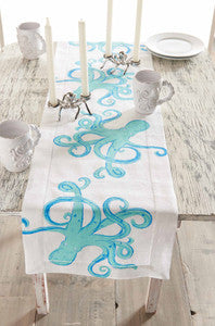 Octopus Linen Table Runner - By the Sea Beach Decor