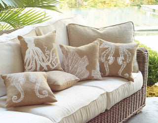 Rustic Beach Burlap Sealife Pillows - By the Sea Beach Decor