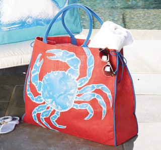 Crab Cape Cod Jute Tote - By the Sea Beach Decor