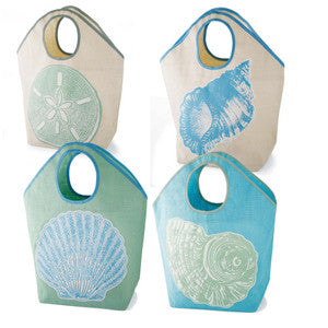 Seashell Printed Jute Beach Bag