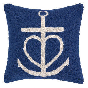 Blue Heart Anchor Hook Pillow - By the Sea Beach Decor