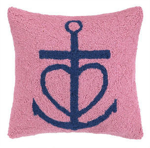 Pink Heart Anchor Hook Pillow - By the Sea Beach Decor