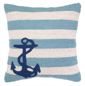 Blue Stripe Anchor Hook Pillow - By the Sea Beach Decor