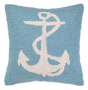 White Anchor on Blue Hook Pillow - By the Sea Beach Decor
