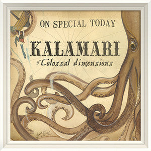 Beach Poster Kalamari Framed Art - By the Sea Beach Decor