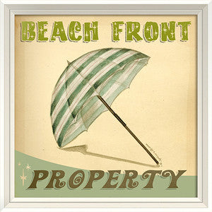 Beach Poster Beach Front Property Framed Art - By the Sea Beach Decor