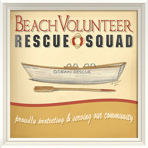 Beach Poster Rescue Squad Framed Art - By the Sea Beach Decor