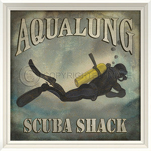Beach Poster Aqualung Scuba Shack Framed Art - By the Sea Beach Decor