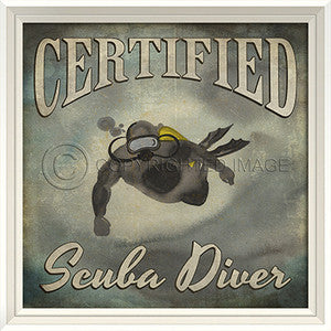 Beach Poster Scuba Diver Print Artwork - By the Sea Beach Decor