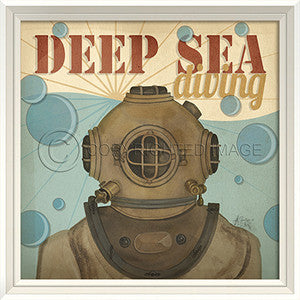 Beach Poster Deep Sea Diving Framed Art - By the Sea Beach Decor