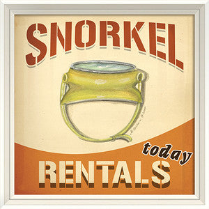 Beach Poster Snorkel Rentals Print Artwork - By the Sea Beach Decor