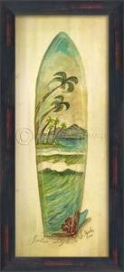 Palm Surfboard Print Beach Artwork