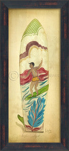 Surfing Style Surfboard Print Coastal Artwork