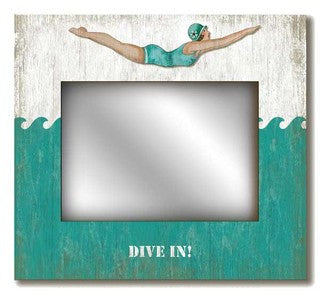 Retro Dive Girl Mirror - By the Sea Beach Decor