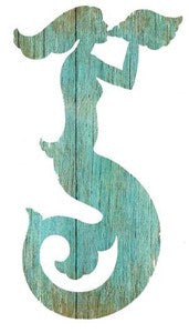 Mermaid Aqua Left Wood Cutout - By the Sea Beach Decor