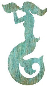 Mermaid Aqua Right Wood Cutout - By the Sea Beach Decor