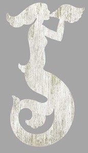 Mermaid White Left Wood Cutout - By the Sea Beach Decor