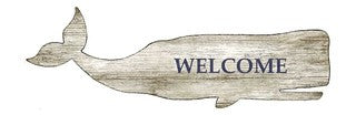Welcome Whale Wood Cutout - By the Sea Beach Decor