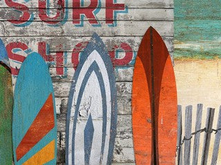 Surf Shop Wood Print - By the Sea Beach Decor