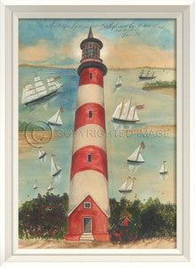 Lighthouse Assateague Framed Art - By the Sea Beach Decor