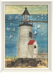 Lighthouse Brant Point Framed Art - By the Sea Beach Decor