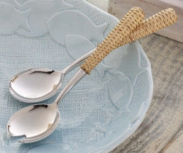 Rattan Salad Servers - By the Sea Beach Decor