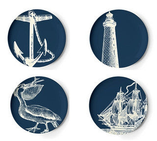 Melamine Scrimshaw Dinner Plate Set - By the Sea Beach Decor
