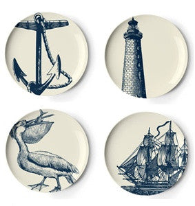 Scrimshaw Melamine Dessert/Appetizer Plate Set - By the Sea Beach Decor