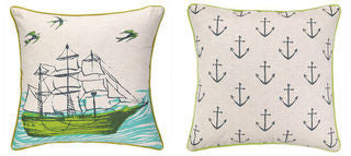 Tall Ship Printed Coastal Decor Pillow