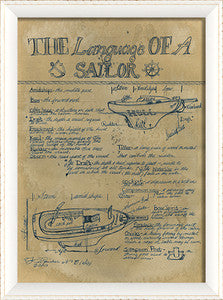 Sail Print Language of a Sailor Coastal Framed Art